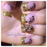 Acrylic set glitter tips gold