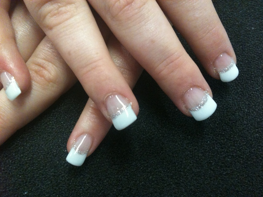 White french with silver glitter strip - Nail Art Gallery