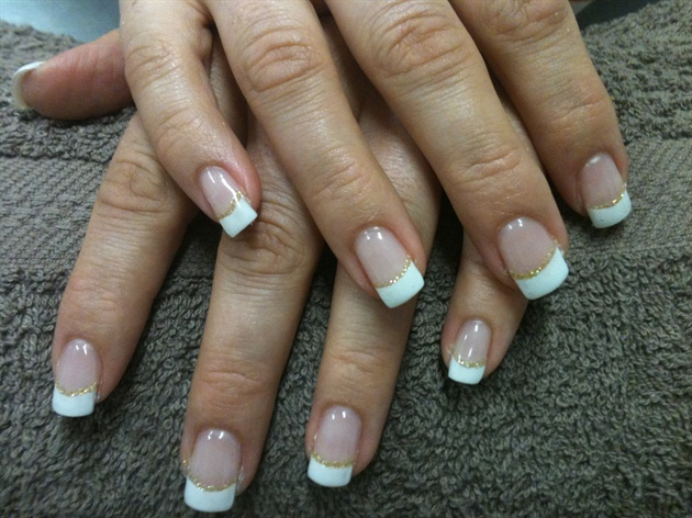 White french with gold glitter