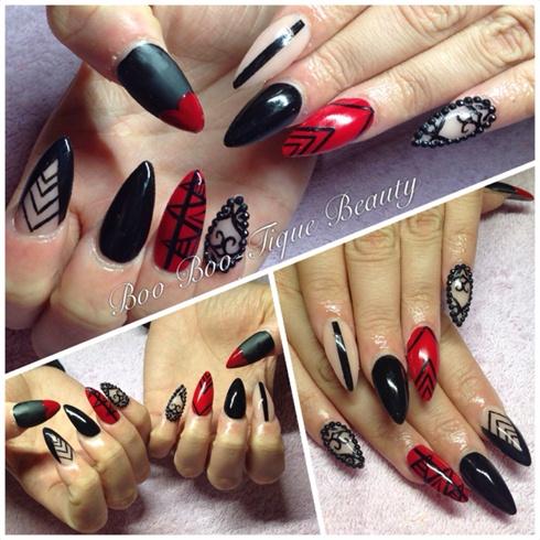Valentines Red Black Stilettos Nail Art Gallery