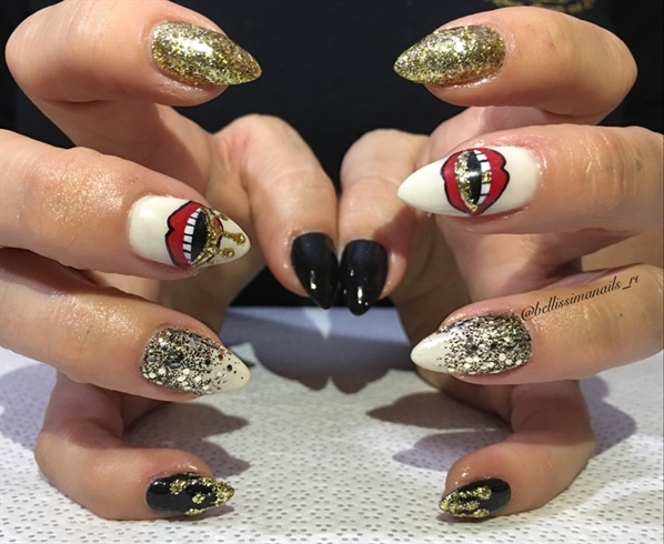 Red Lips And Paint Drips Nail Art Gallery