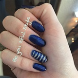 Blue Sparkle Shellac With Silver Stripes