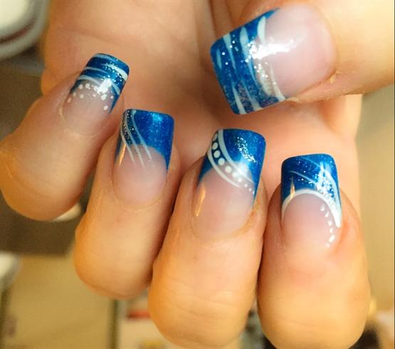 Blue French Nail Art
