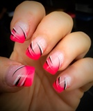 Pink French Nail Art  Gel