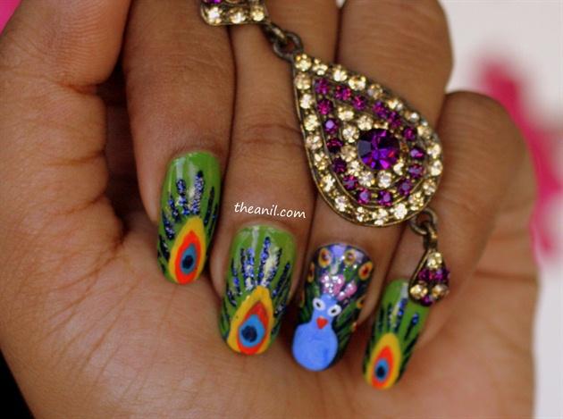 Дизайн ногтей павлиний глаз фото