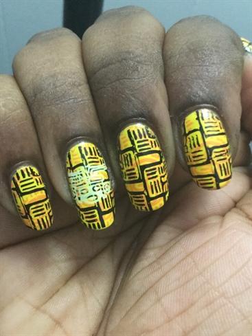 Aztec Pattern Nail Stamping