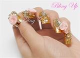 Gold Nails with Pink 3D Nail Art Roses