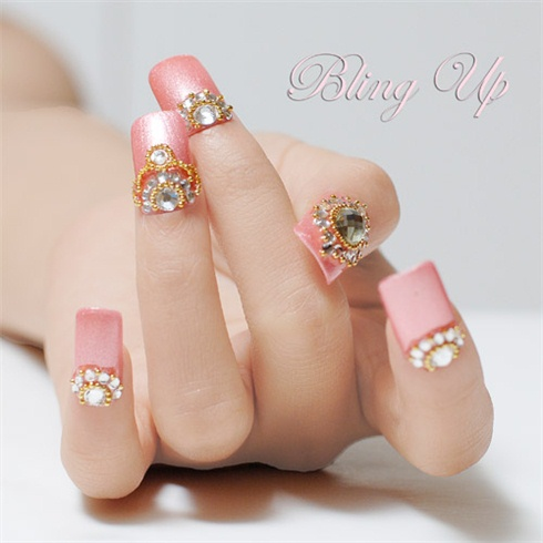 Pink 3d Nail Art With Swarovski Crystals Nail Art Gallery