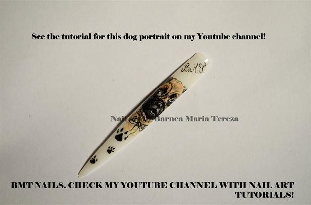 Dog portrait nail art tutorial by Barnea Maria Tereza