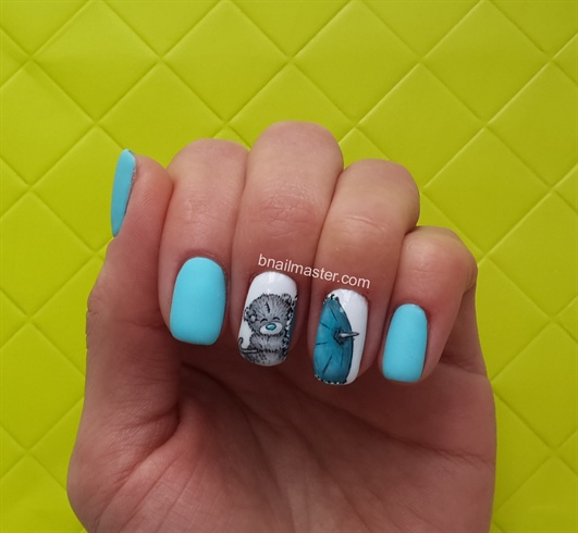 I combined this design with matte blue nails