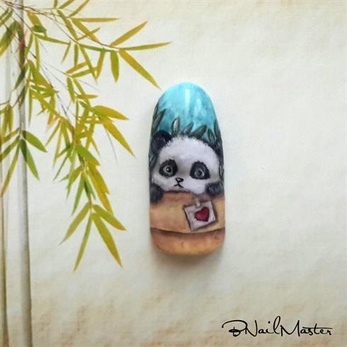 Freehand Panda Nail Design