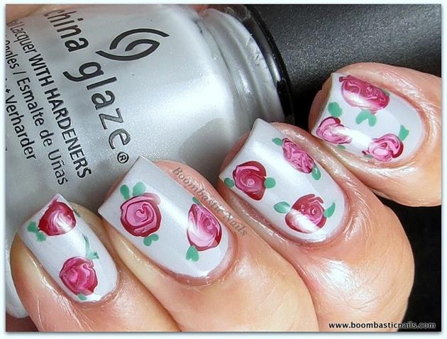 Vintage rose nails nail art gallery vintage rose nails prinsesfo Gallery