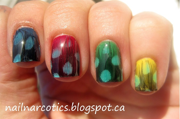 Colorful Fancy Feather nail art design