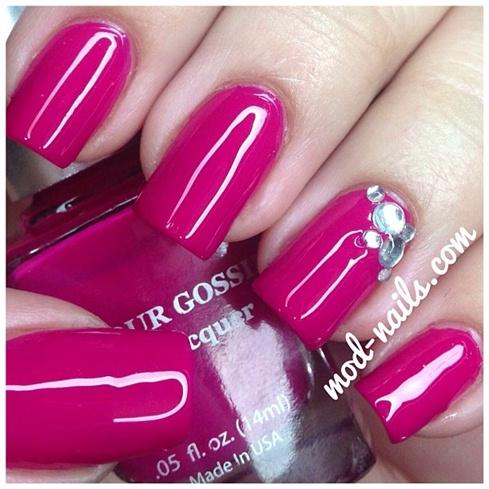 pink polish  silver rhinestones  nail art gallery