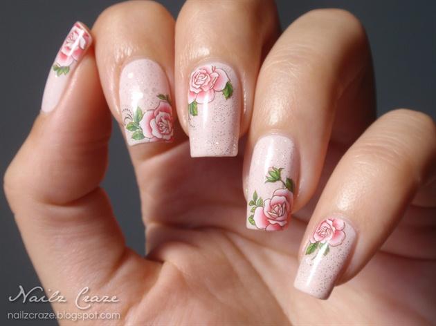Delicate Roses Nail Art - Delicate Roses Nail Art - Nail Art Gallery