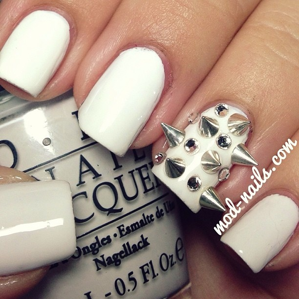 Spiked Nails With Rhinestones Nail Art Gallery