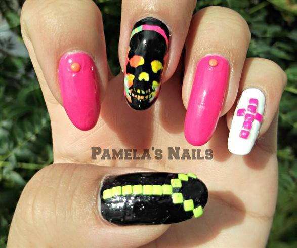 Neon Nail studs + Skull Nail