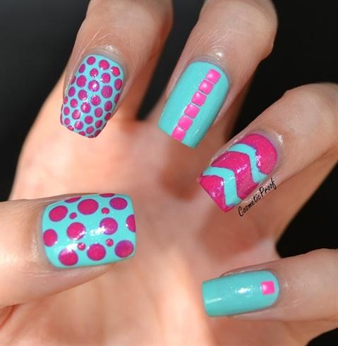 Hot Pink Studded Nail Art
