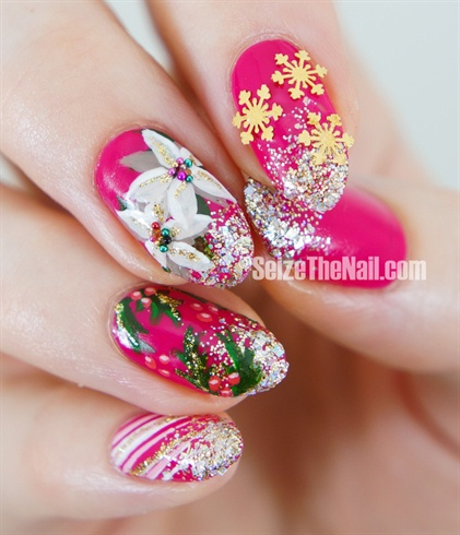 Colorful Christmas nail art design !