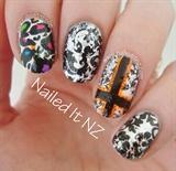 Dazzling Black Leopard Foil Nails