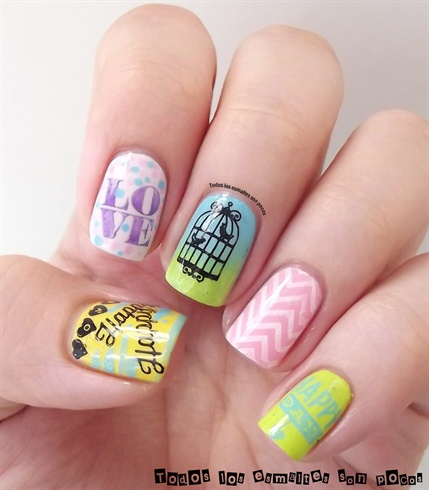 Love Wavy Stripe Cage Stamping Nails by BornPrettyNails from Nail Art Gallery