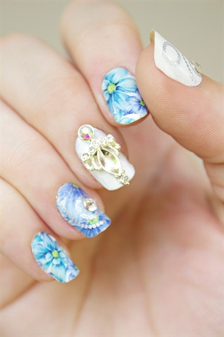 Watercolor Blossoms Rhinestone Manicure