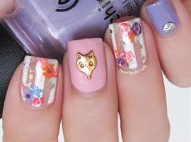 nail art: Floral Nails and Fox Nail Charm