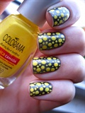 Shimmer Yellow Polka Dot Nails