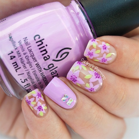 Violet Nails with Bow Rhinestones