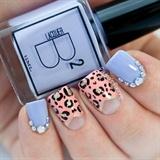 Leopard Print Bling Rhinestone Nails