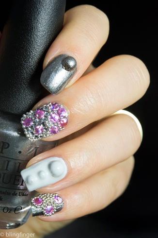 Purple Holo Studs Nails