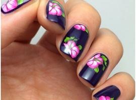 Dark Purple Floral Water Decals Nail