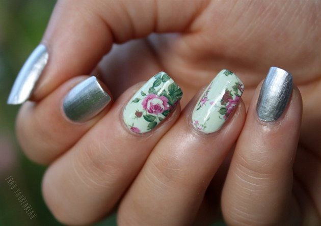 Silver & Green Floral Nails
