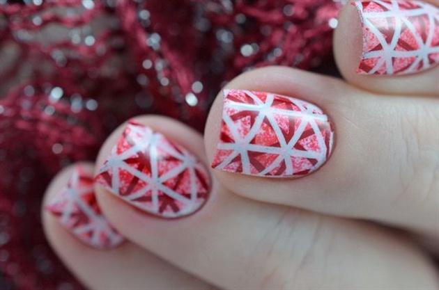 Gradient Pink Geo Stamping Nails