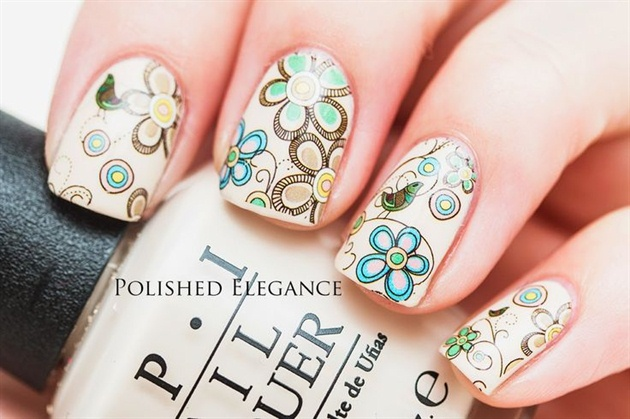 Pretty Floral Water Decals Nails