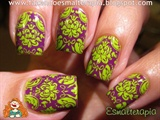 Purple & Green Floral Stamping Nails
