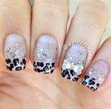 Glitter Leopard Rhinestone Bow Nails