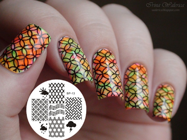 Rainbow Colored Circle Stamping Nails
