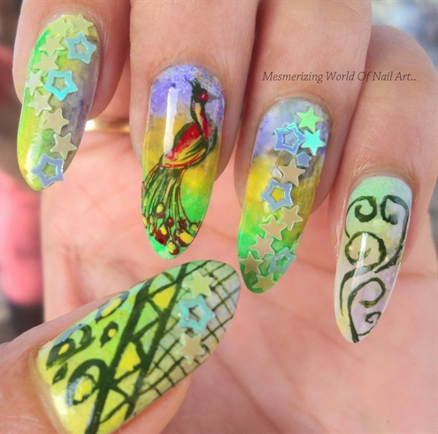 Gorgeous Peacock Stamping Nails