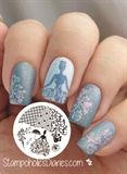 Blue Elegant Lady Stamping Nails :