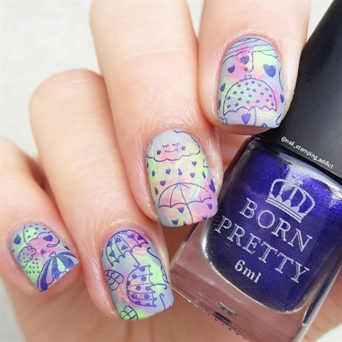 Gradient umbrella stamping nails