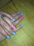 Blue pink polka dot