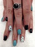 Black N Teal  Poka Dots