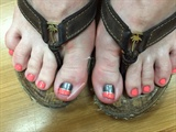 Gray And Coral Toes