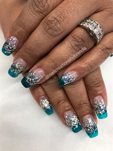 Translucent Aqua Glitter Nails