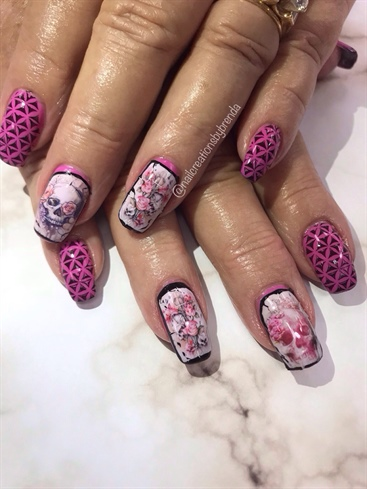 Pink Sugar Skulls Nail Art Gallery