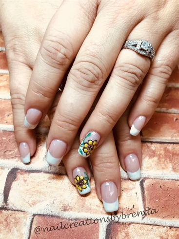 French Nails With Sunflowers