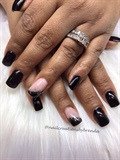 Black Angled French With Glitter