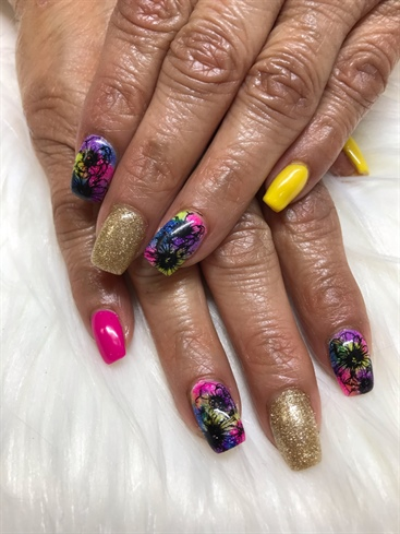 Neon spring flowers