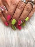 Watermelon And Kiwi Nails